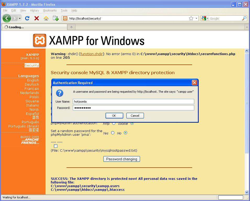 Installation of the Web Server on the Home/Office Windows Computer