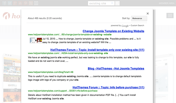testing google in-site search