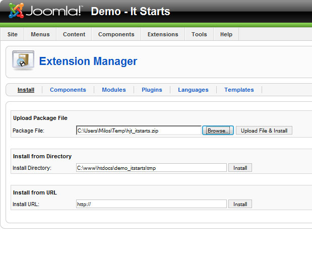 joomla empty template - joomla template installation tutorial hotthemes