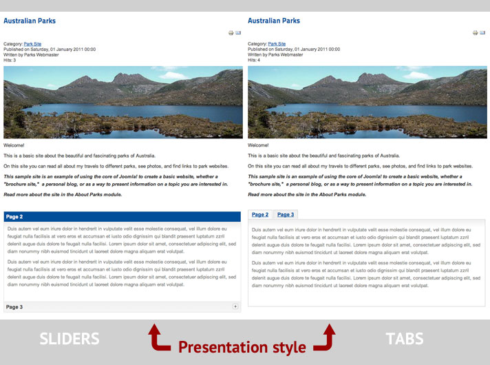 page break sliders and tabs